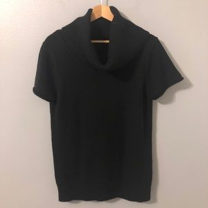 BCBG MaxAzria Black Short Sleeve Turtleneck Size L
